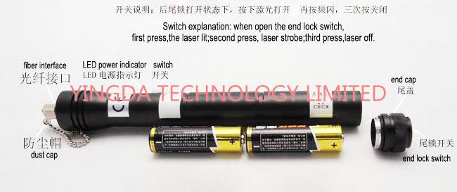 Black Handheld Fiber Test Visual Fault Locator Fiber Tool Kits 20MW 650nm SC FC ST 40 KM