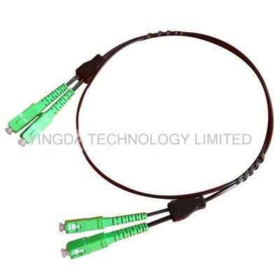 Black 2 Core Single Mode Fiber Patch Cord SC - SC 657A2 Simplex 70M With Steel Wire