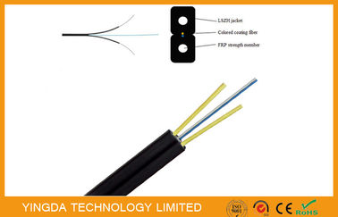 Çin FRP Glass Fiber Optic FTTH Drop Wire Cable G657A SM 2 Fibers GJXFH Black Fabrika