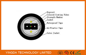 Armored Bow Type Fiber Drop Cable FTTH Black PE Jacket Outdoor Duct Cable