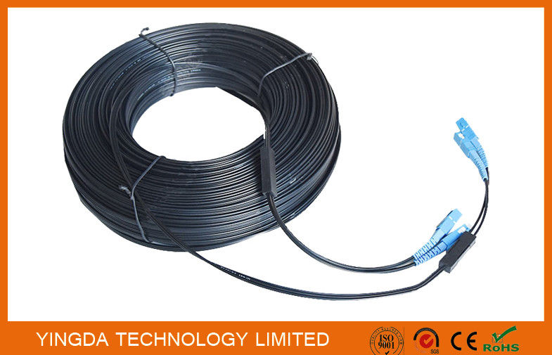 Black 2 Core Single Mode Fiber Patch Cord SC - SC 657A2 Simplex 70M With Steel Wire Tedarikçi