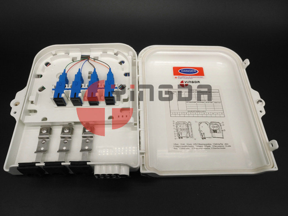 Optical Outdoor 1X8 PLC Fiber Optic Splitter Box IP65 , 3In 8Out Distribution Box FDB0208C