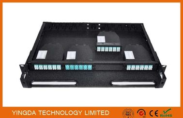 Çin 96 Cores 1U MPO Patch Panel / Enclosures 4 bays wide 24 LC ports3 MPO APC (x8) input SMF Distribütör